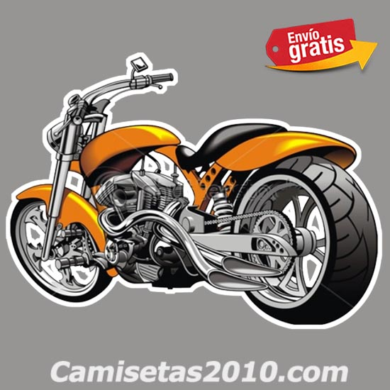 PEGATINA MOTOCICLETA CHOPPER COLOR NARANJA 009
