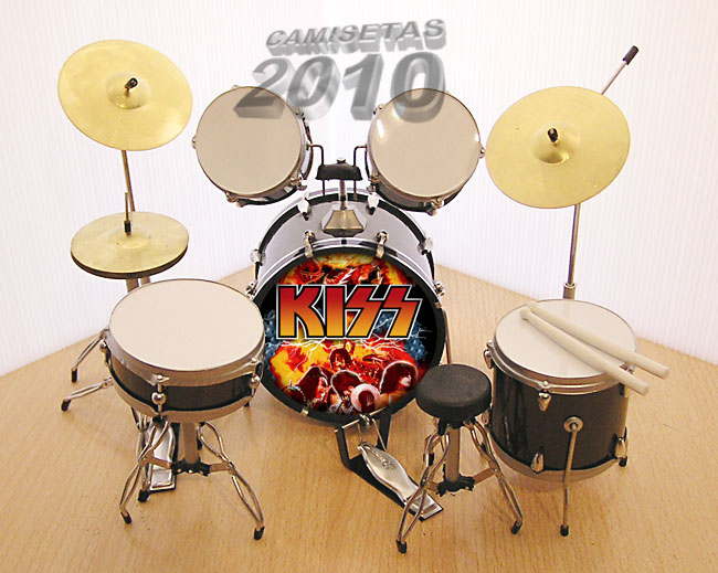MINI BATERIA MINIATURA REPLICA DEL GRUPO ROCK KISS 02