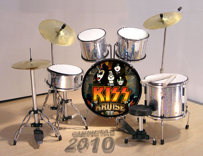 .MINI BATERIA MINIATURA REPLICA DEL GRUPO ROCK KISS 10