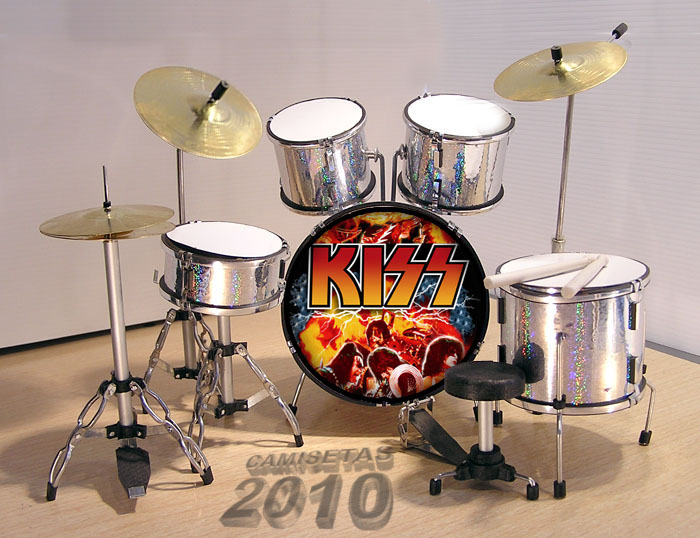 .MINI BATERIA MINIATURA REPLICA DEL GRUPO ROCK KISS 11
