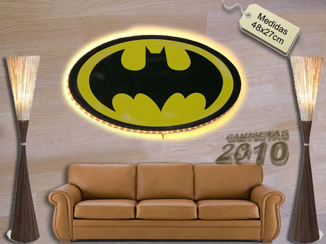 LAMPARA CARTEL ROTULO CON SILUETA DE BATMAN Y LUCES LEDS