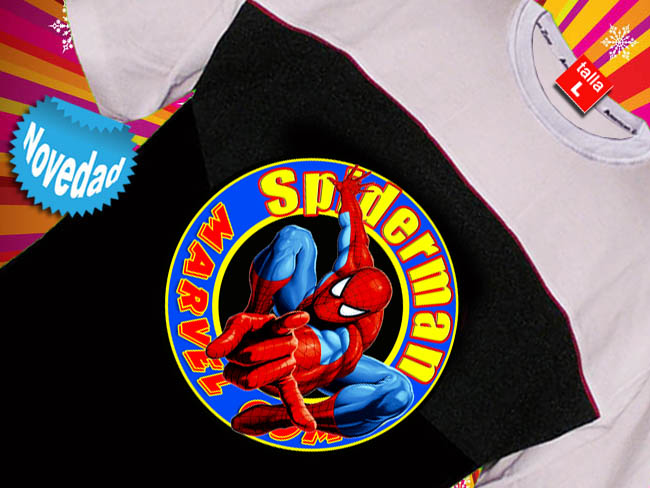 CAMISETA BICOLOR CON SUPERHEROE SPIDERMAN