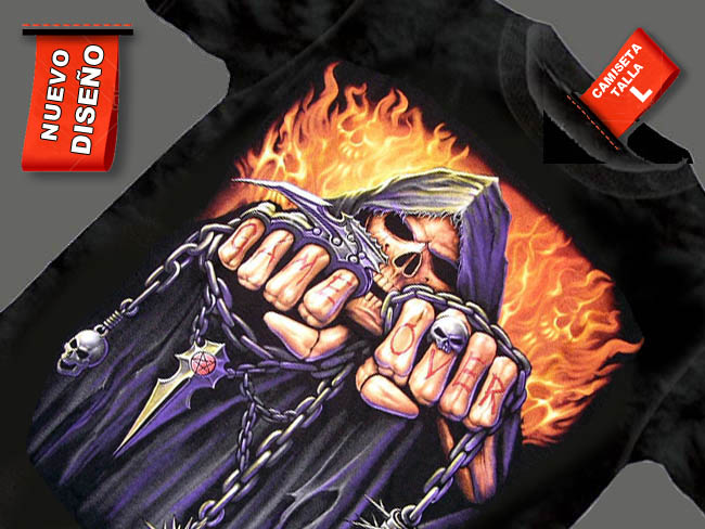 CAMISETA NEGRA CON CADENAS GAME OVER FUEGO