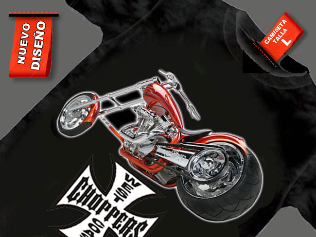 CAMISETA NEGRA CON MOTO CHOPPER ROJA CUSTOMIZADA