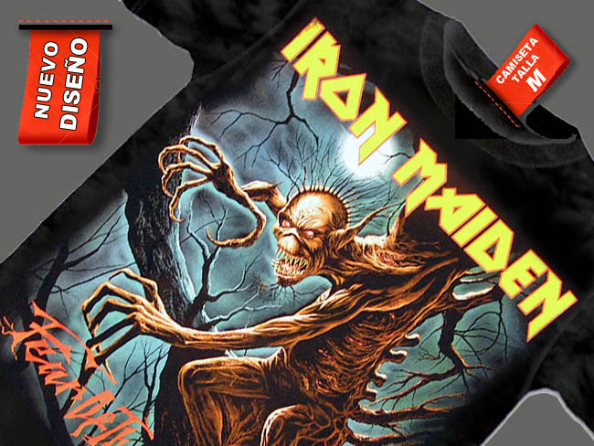 CAMISETA NEGRA GRUPO IRON MAIDEN FEAR DEATH