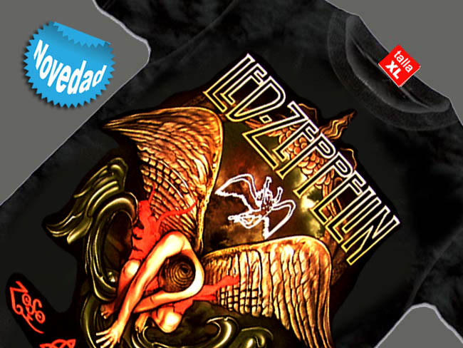 CAMISETA NEGRA GRUPO LED ZEPPELIN ANGEL CAIDO
