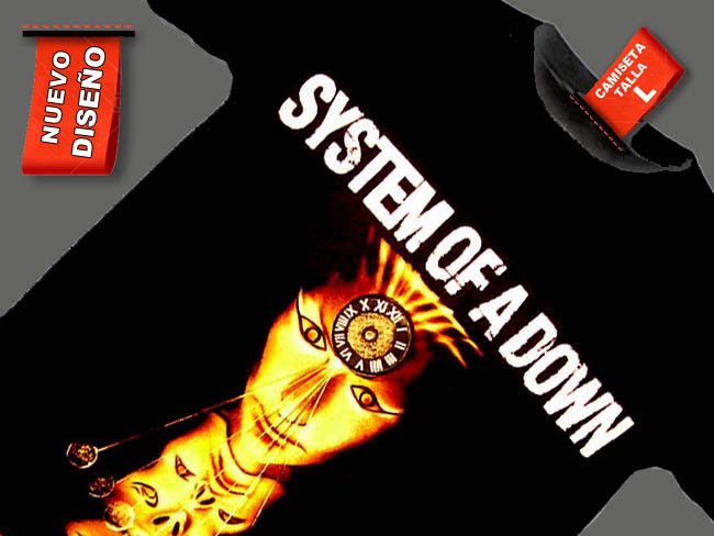 CAMISETA NEGRA GRUPO ROCKERO SYSTEM OF A DOWN
