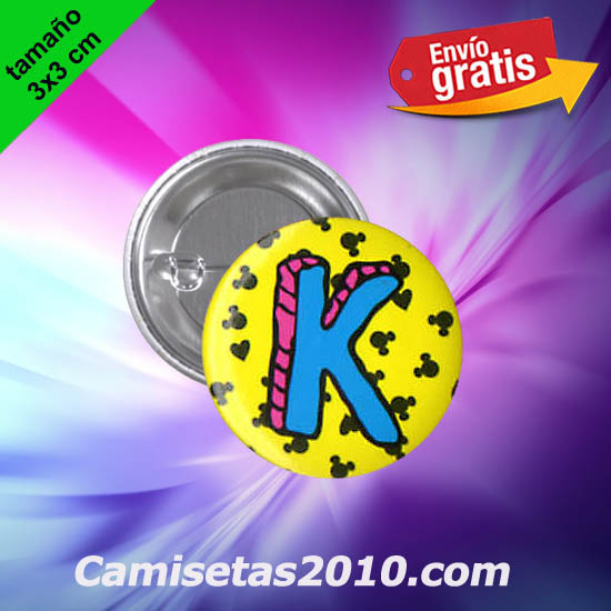 CHAPA PINS COLOR 3x3 MICKEY LETRA K