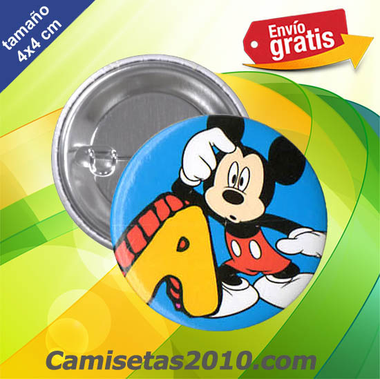 CHAPA PINS COLOR 4x4 RATON MICKEY LETRA A
