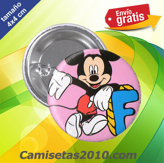 CHAPA PINS COLOR 4x4 RATON MICKEY LETRA F