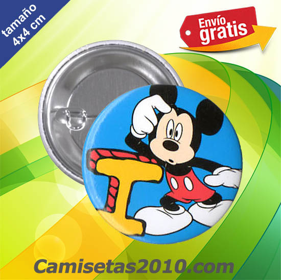 CHAPA PINS COLOR 4x4 RATON MICKEY LETRA I