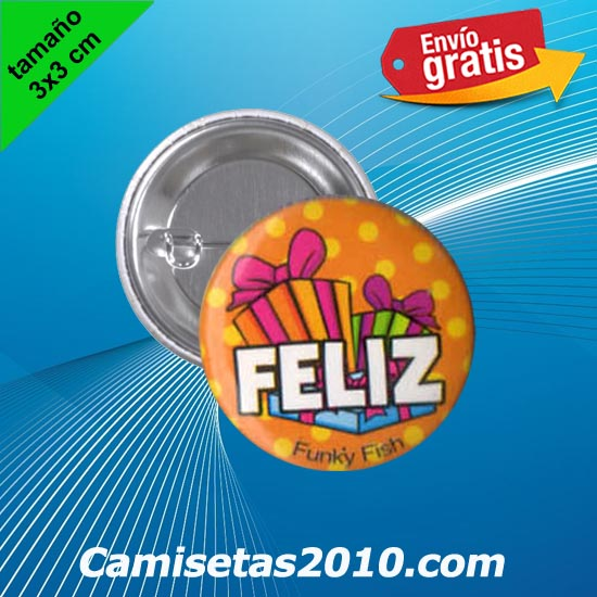 CHAPA PINS COLOR 3x3 FELIZ