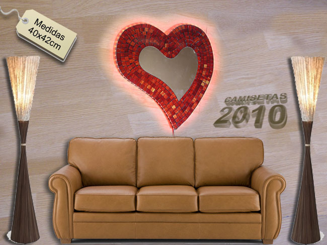 LAMPARA CARTEL ROTULO CON SILUETA DE CORAZON Y LUCES LEDS