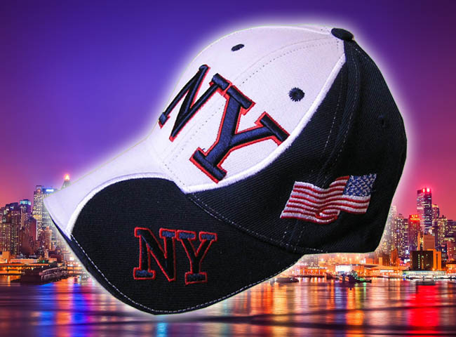 GORRA BORDADA CON BANDERA USA Y NEW YORK