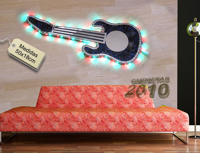 LAMPARA CARTEL ROTULO CON GUITARRA ELECTRICA Y LUCES LEDS