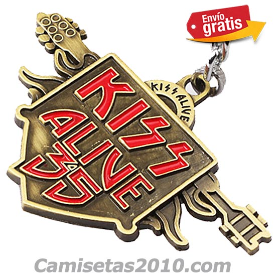 LLAVERO METAL GRABADO EN RELIEVE GRUPO MUSICA KISS COLOR BRONZE