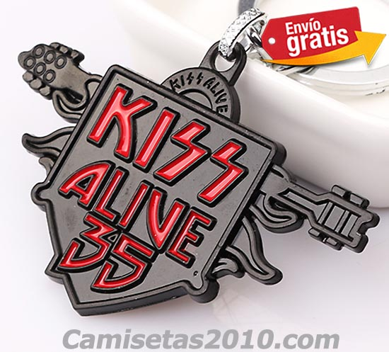 LLAVERO METAL GRABADO EN RELIEVE GRUPO MUSICA KISS COLOR NEGRO