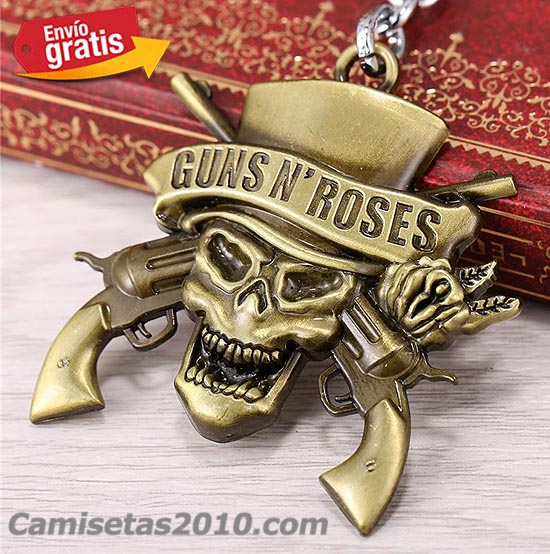 LLAVERO METAL GRABADO EN RELIEVE GRUPO GUNS & ROSES COLOR BRONZE