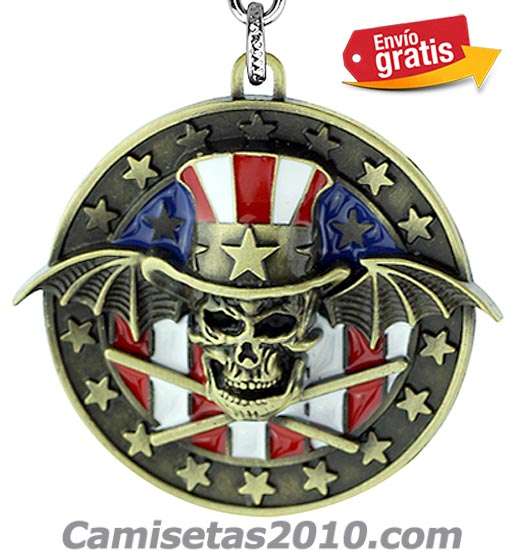 LLAVERO METAL REDONDO RELIEVE GRUPO GUNS & ROSES COLOR BRONZE