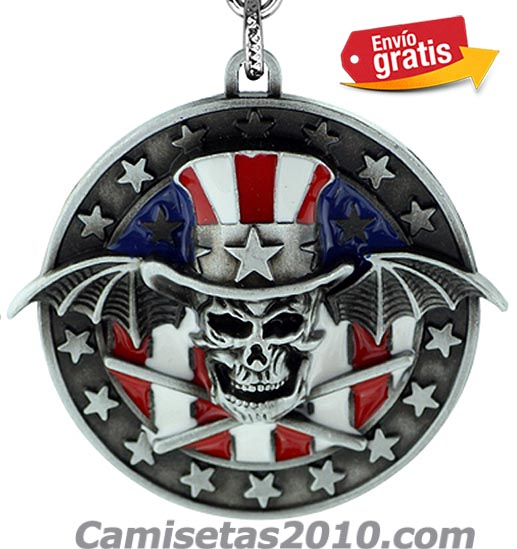 LLAVERO METAL REDONDO RELIEVE GRUPO GUNS & ROSES COLOR PLATEADO
