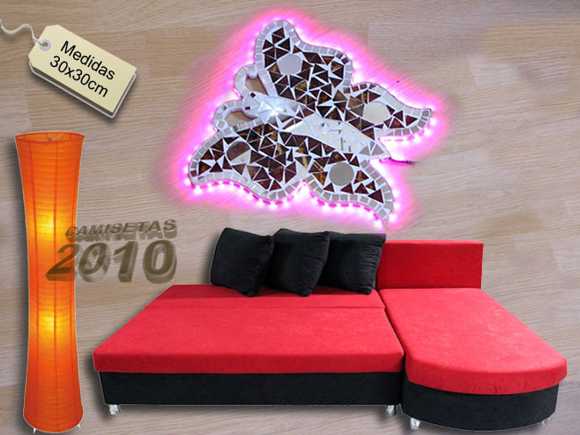LAMPARA CARTEL ROTULO CON MARIPOSA MONARCA Y LUCES LEDS