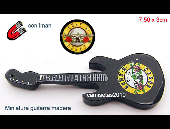 MINI GUITARRA EN MADERA IMAN GUNS & ROSES