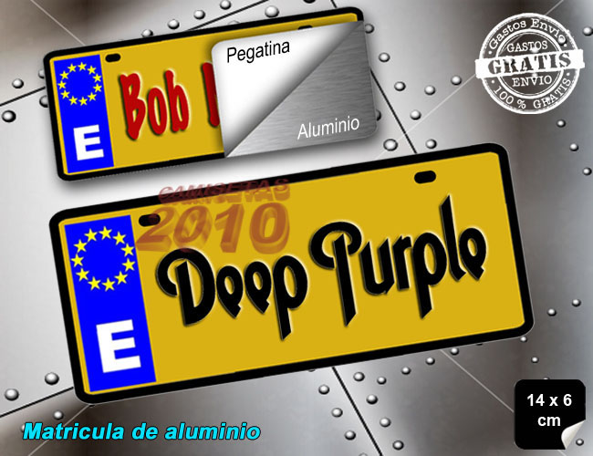 MINI MATRICULA ALUMINIO GRUPO DE MUSICA DEEP PURPLE