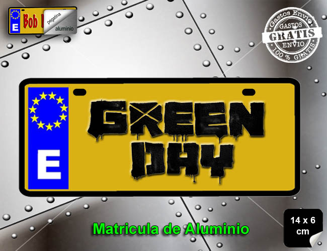 MINI MATRICULA ALUMINIO GRUPO DE MUSICA GREEN DAY