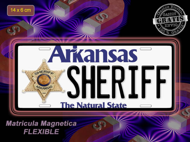 MINI MATRICULA MAGNETICA IMANTADA ARKANSAS SHERIFF
