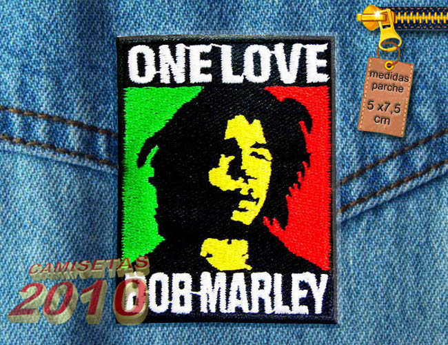PARCHE  BORDADO CON BOB MARLEY ONE LOVE