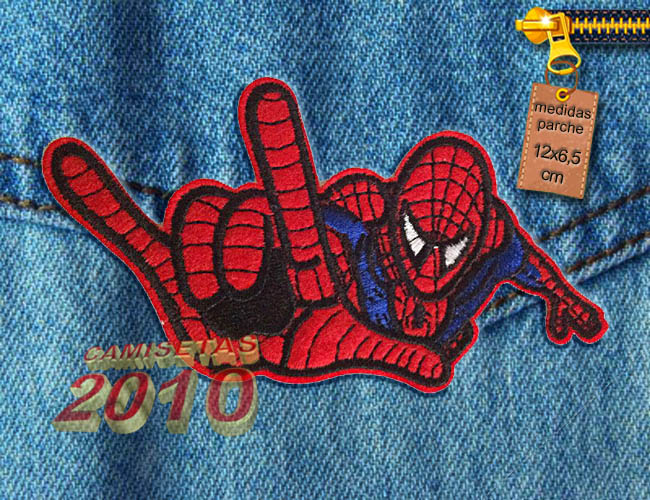 PARCHE  BORDADO CON SILUETA DE SPIDERMAN