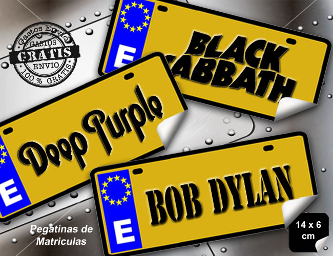 3 PEGATINAS MATRICULAS BLACK SABBATH - BOB DYLAN - DEEP PURPLE