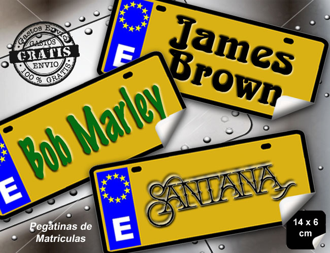 3 PEGATINAS MATRICULAS JAMES BROWN - BOB MARLEY - SANTANA