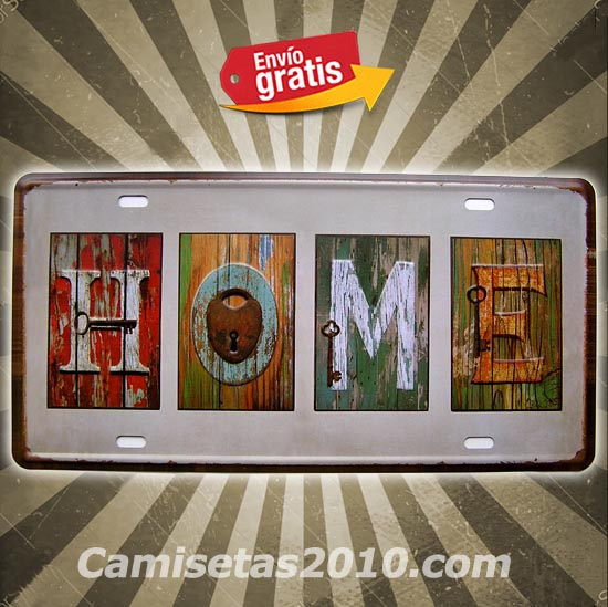 PLACA METALICA VINTAGE MATRICULA CASA HOME