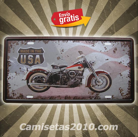 PLACA METALICA VINTAGE MATRICULA MOTOCICLETA MADE IN USA