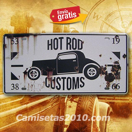 PLACA METALICA VINTAGE MATRICULA AUTO HOT ROD TUNEADO
