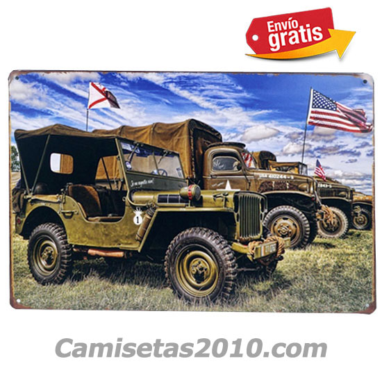 PLACA METALICA VINTAGE AUTOS JEEP MILITARES