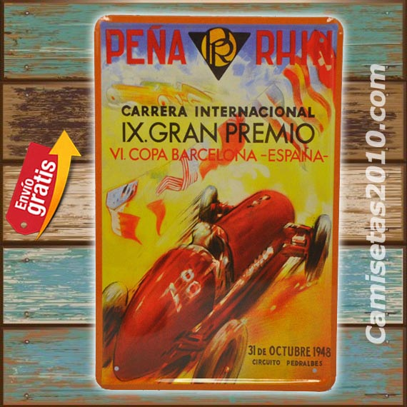 PLACA METALICA VINTAGE CARRERA COCHES ANTIGUOS