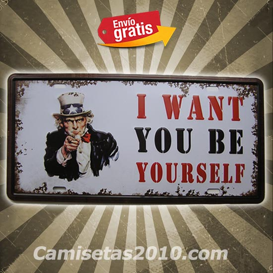 PLACA METALICA VINTAGE MATRICULA I WANT YOU USA