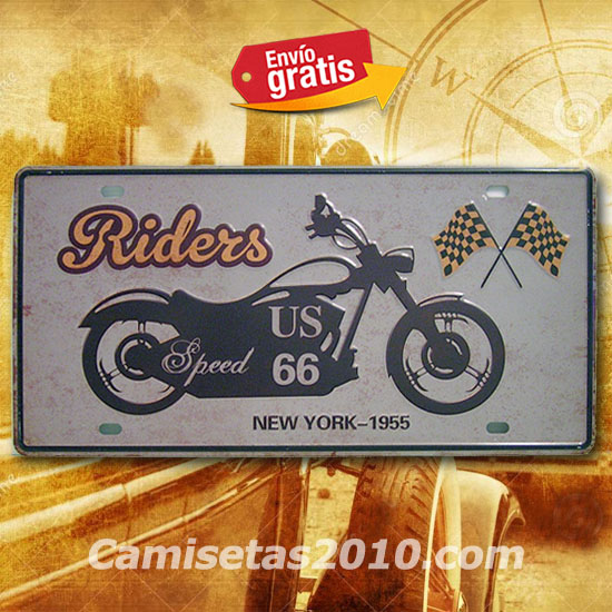PLACA METALICA VINTAGE MATRICULA MOTOCICLETA CHOPPER USA