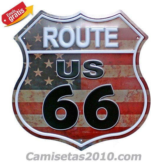 PLACA METALICA ESCUDO VINTAGE ROUTE 66 US