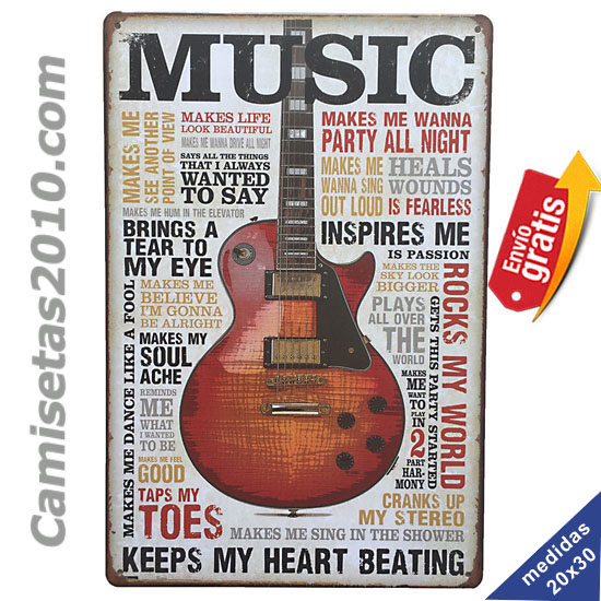 PLACA METALICA VINTAGE CON GUITARRA ROCKERA