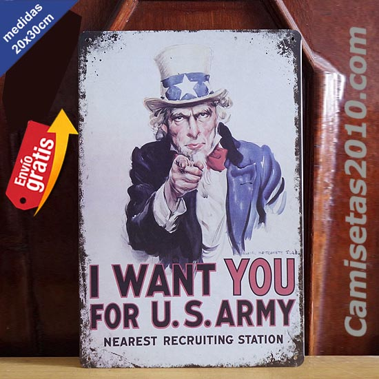 PLACA METALICA VINTAGE I WANT YOU ARMY AMERICA