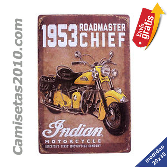 PLACA METALICA VINTAGE MOTOCICLETA INDIAN AMARILLA