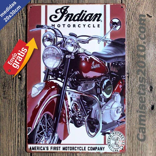 PLACA METALICA VINTAGE MOTOCICLETA INDIAN 3