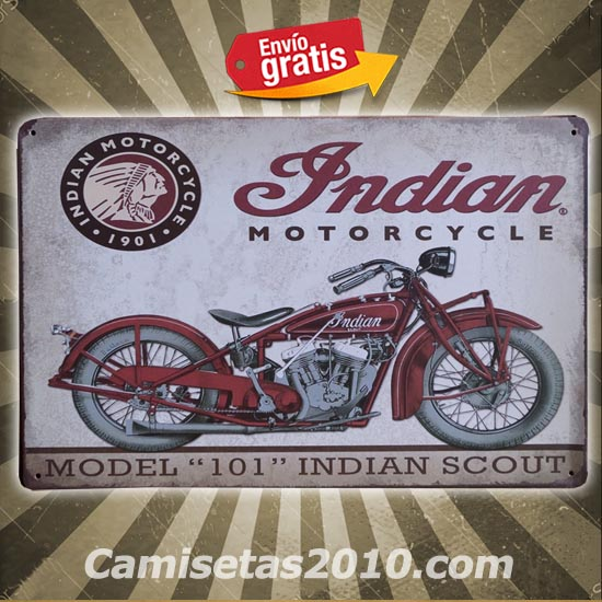 PLACA METALICA VINTAGE CON MOTOCICLETA MODELO INDIAN