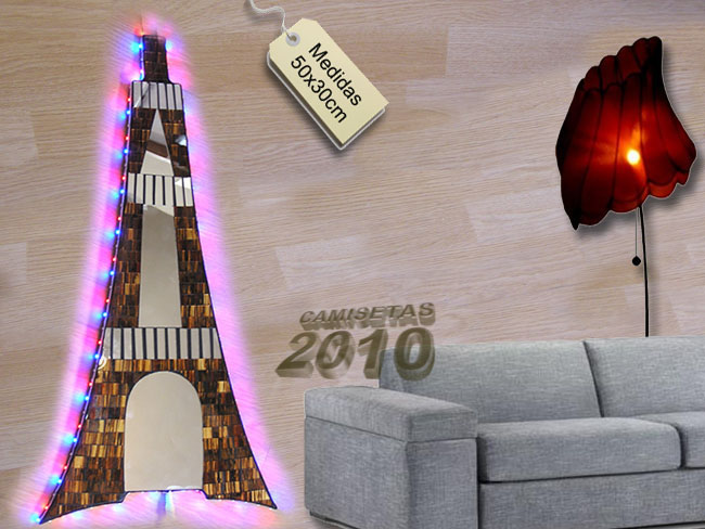 LAMPARA CARTEL ROTULO CON TORRE EIFFEL PARIS Y LUCES LEDS